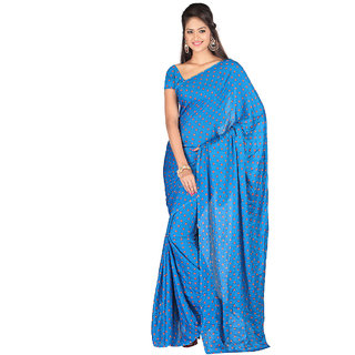 Elegant Blue Moss Crepe Printed Saree EBS131221008