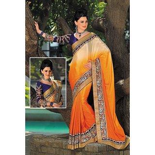 Aarushi Fashion Orange & Beige Color Satin Chiffon Saree.