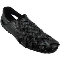 B3trendz Black Leather Slip-On Sandals
