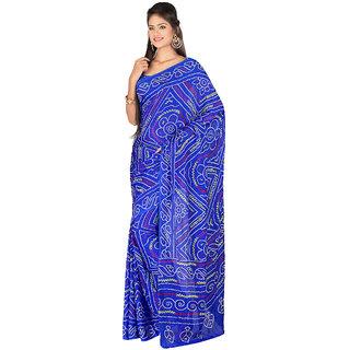 Elegant Blue Moss Crepe Printed Saree EBS131221020