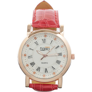 Fidato Round Dial Red Leather Strap Womens Quartz Watch