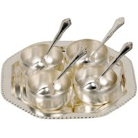 Gifts Vale German Silver 4 Bowl 4 Spoon