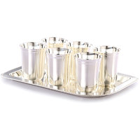 Gifts Vale German Silver 6 Glass  Tray Set
