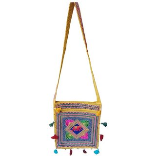 Fashion Bizz Handicraft Yellow Jhola Bag