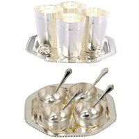 Gifts Vale German Silver 4 Bowl 4 Spoon + 4 Glass  Tray Set