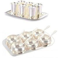 Brass Silver Bowls (Set Of 6 Bowl 6 Spoon + 6 Glass  Tray Set)