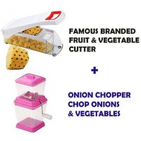 Famous Branded Fruit & Vegetable Cutter + Onion Chopper Chop Onions & Vegetables