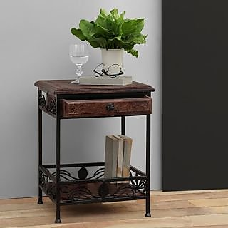 Onlineshoppee Wooden & Iron End Table Walnut And Black Size(LxBxH-14.5x14.5x19)