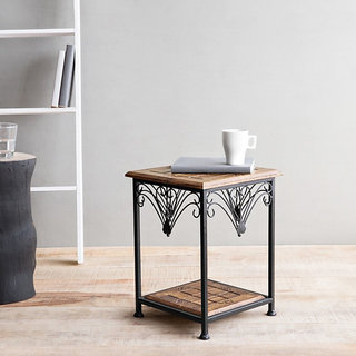 Onlineshoppee Wooden & Iron End Table Walnut And Black Size(LxBxH-11X11X14.7)