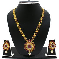 Zaveri Pearls Silver Plated Golden  Red Necklace Set For Women