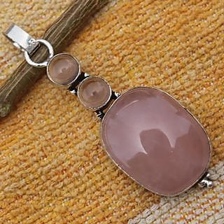 ROSE QUARTZ .925 STERLING SILVER OVERLAY NEW IN FASHION PENDANT SZ 2