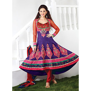 RED BROCADE & VIOLET JACQUARD ANARKALI SUITS WITH MULTIPLE LACE