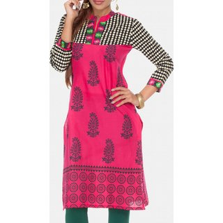 DarziClub Pink Grape Printed Kurti With Contrast Yoke available at ShopClues for Rs.460