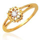 Ag Real Diamond Solitaire Diamond Fancy Flower Ring Agsr0035