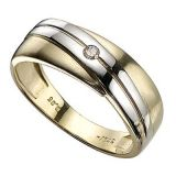 Ag Real Diamond One Stone Fancy Gold And White Band Ring Agsr0088