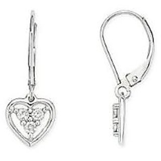 Ag Real Diamond Three Stone Dangle Heart Earring # Agse0034