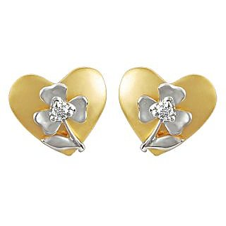 Ag Real Diamond Stone Heart Into Flower Shape Earring # Agse0103