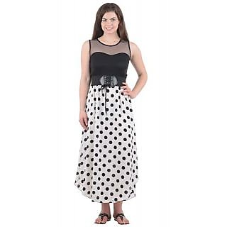 Westchic Womens White with Black Polka Dotted Dress KWLD-009