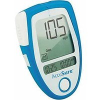 Accu Sure Blood Sugar Glucose Check Monitor Meter +10 Strips AccuSure