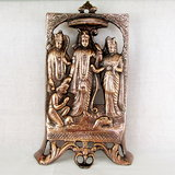 RAM DARBAR ANTIQUE LOOK HANDICRAFT COPPER FINISH PLATED METAL STATUE,GOD IDOL