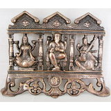 SHREE GANESH LAXMI SARASWATI BLACK METAL COPPER FINISHED STATUE, HOME DECOR