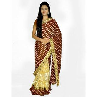 designer cream brown saree