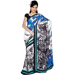 Sonal Trendz White & Blue Color Printed Georgette Saree