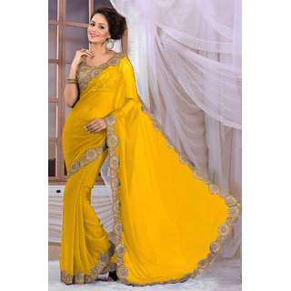 Attractive Yellow Georgette Saree EBSFS16526