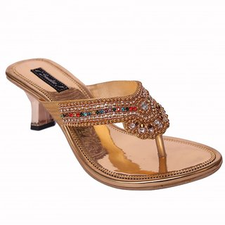 Smalto Golden Karchopi Party Wear Sandal For Women