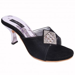 Smalto Black Burfi News Hard Buttom Party Wear Sandal For Women