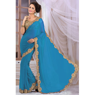 Marvlous Blue Georgette Saree EBSFS16532