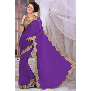 Attractive Purple Georgette Saree EBSFS16533