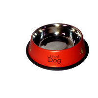 Pet CLUB51 Stainless Steel Stylish Dog Food Bowl - RED 450 ML