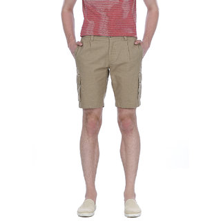 Basics Casual Plain Beige Cotton Comfort Shorts