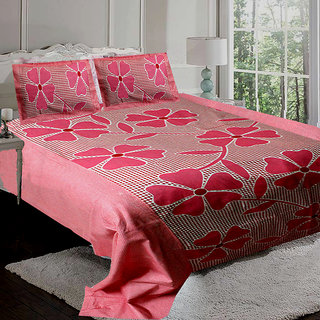 little joy floral design double bedsheet with 2 pillow cover