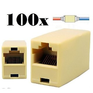 100P Pcs RJ45 Cat5e Straight Ethernet Cable Internet Network LAN Coupler Joiner