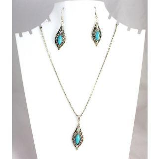 Stylish Elegant Silver Plated Turquoise & Leaf Shaped Pendant Set KJPS202