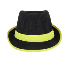 Black With Yellow Lace Fidora Hat For Women JSMFHCP1293