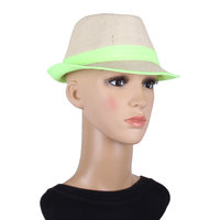 Brown With Green Lace Fidora Hat For Women JSMFHCP1305
