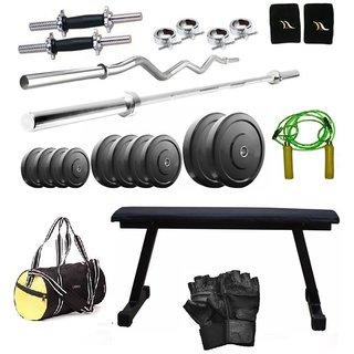 Total Gym 30 Kg Home Gym, 2 Dumbbell Rods, 2 Rods(5Ft, 3Ft Curl), Flat Bench, Gym Bag (VADoSET-FLAT7)