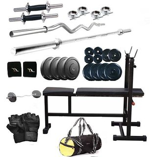 Total Gym 45 Kg Home Gym, 2 Dumbbell Rods, 2 Rods(1 Curl), 3 In 1 (I/D/F) Bench And Gym Bag (chobagI-D-F14)