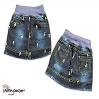 Denim Skirt Dark Cactus Print