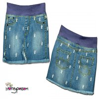 Denim Skirt Iced light Blue Cactus print