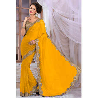 Elegant Yellow Georgette Saree EBSFS16547
