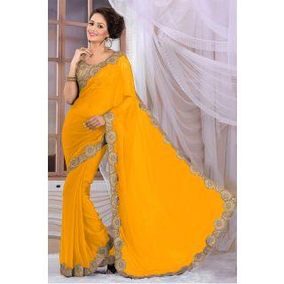 Elegant Yellow Georgette Saree EBSFS16550