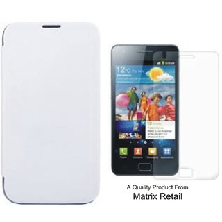 Matrix Flip Cover Case For Samsung Galaxy S2 9100 White Pu Leather With Free Screenguard