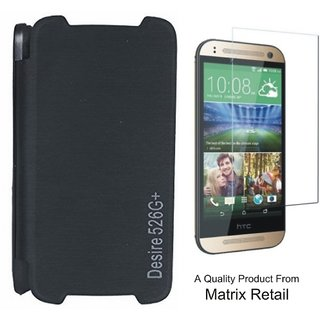 Matrix Flip Cover Case For Htc Desire 526G+ Black With Free Screenguard