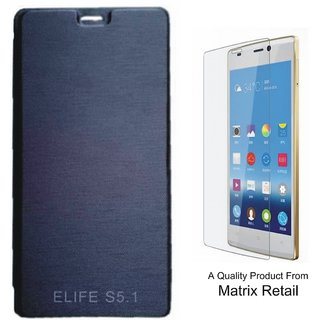 Matrix Flip Cover Case For Gionee Elfie S 5.1 Black With Free Screenguard