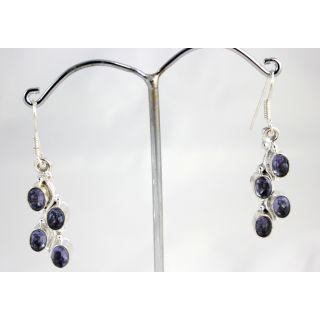 Stylish Trendy Designer Silver Plated Purple Colour Hanging Earrings KJE370