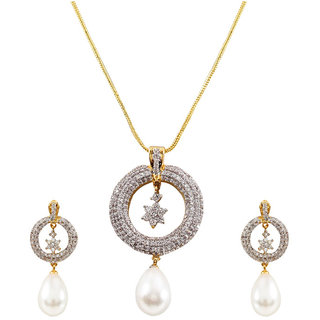 Gold Plated American Diamond Pearl Pendant Set Wit Chain for Women by Sharia available at ShopClues for Rs.4484